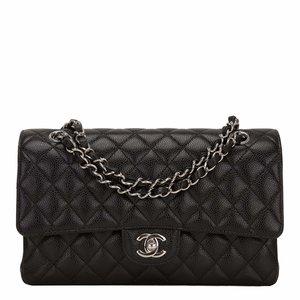 cc3b84cf038b Chanel Black Quilted Caviar Medium Classic Double Flap Bag ...