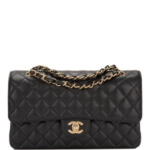 15b029d24517bc Chanel Black Quilted Caviar Medium Classic Double Flap Bag