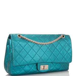 291e60296b66af Chanel Metallic Turquoise Leather 2.55 Reissue Classic 227 Jumbo Flap Bag  ...