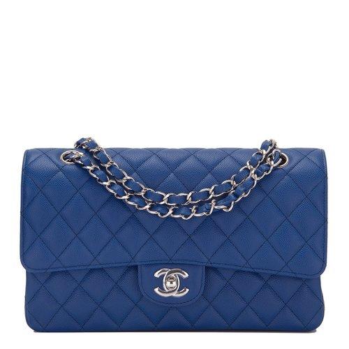 bafa50e033184a Chanel Dark Blue Quilted Caviar Medium Classic Double Flap Bag — The ...