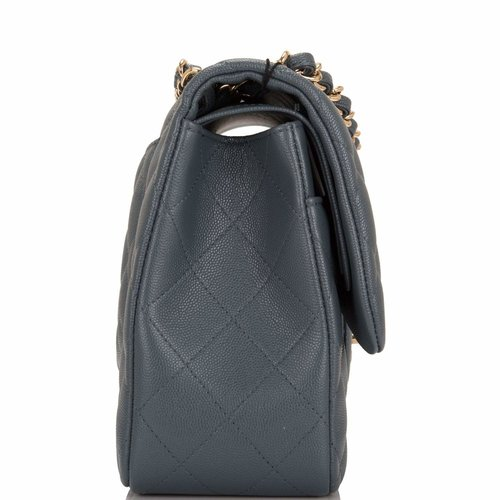 22385cdf2f96 Chanel Slate Grey Quilted Caviar Jumbo Classic Double Flap Bag — The ...