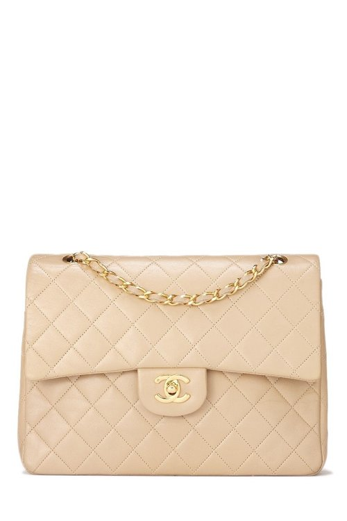 025680f54d06d7 Chanel Beige Quilted Lambskin Classic Double Flap Medium Tall — The ...