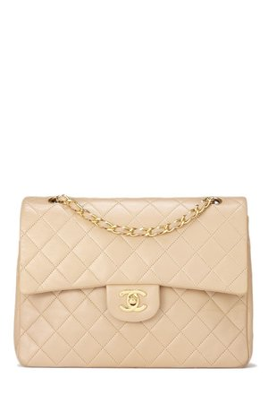 e9de9078bf312e Chanel Beige Quilted Lambskin Classic Double Flap Medium Tall ...