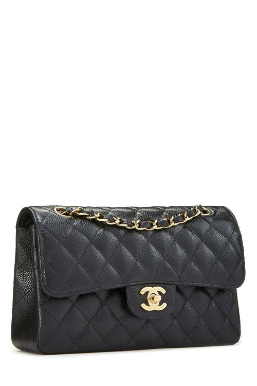 0a9a0778559e Chanel Black Quilted Caviar Small Classic Double Flap — The Posh Net