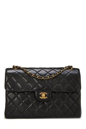 114e1bebaf3e Chanel Black Quilted Lambskin Double Sided Classic Flap Jumbo ...