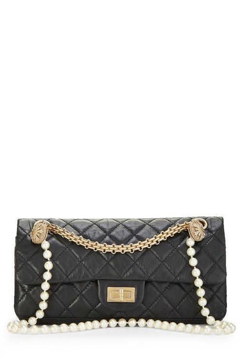 05e97df255e3 Chanel Black Quilted Calfskin Pearls Reissue 2.55 — The Posh Net