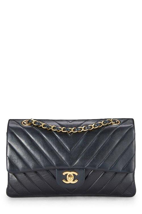 ef806b3854ecc4 Chanel Black Lambskin Chevron Classic Double Flap Medium — The Posh Net