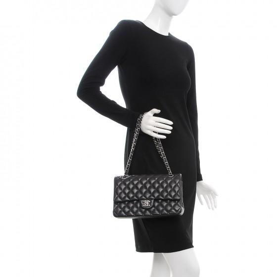 e87e52b83035f8 Chanel Lambskin Quilted Medium Double Flap Dark Grey — The Posh Net
