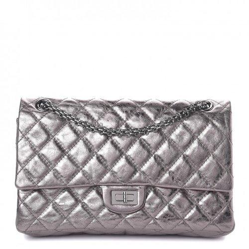 c109a1325027 Chanel Metallic Aged Calfskin Quilted 2.55 Reissue 226 Flap Dark Silver