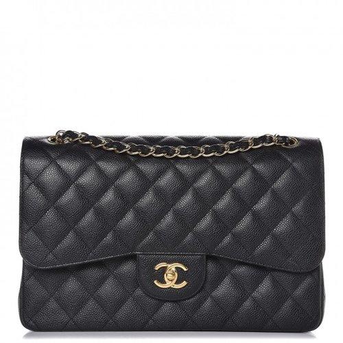 0e49d6a1b8fb0e Chanel Caviar Quilted Jumbo Double Flap Black — The Posh Net