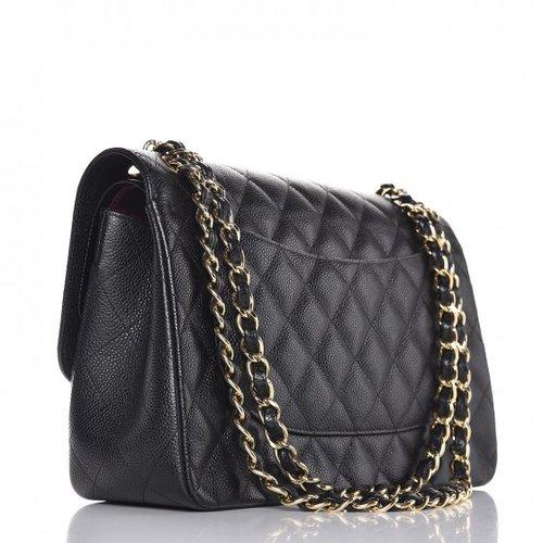 e9b88c6231b8 Chanel Caviar Quilted Jumbo Double Flap Black — The Posh Net