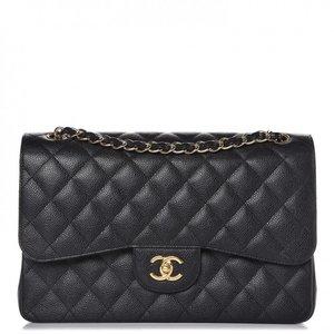 17dfd98b08da67 Chanel Caviar Quilted Jumbo Double Flap Black ...