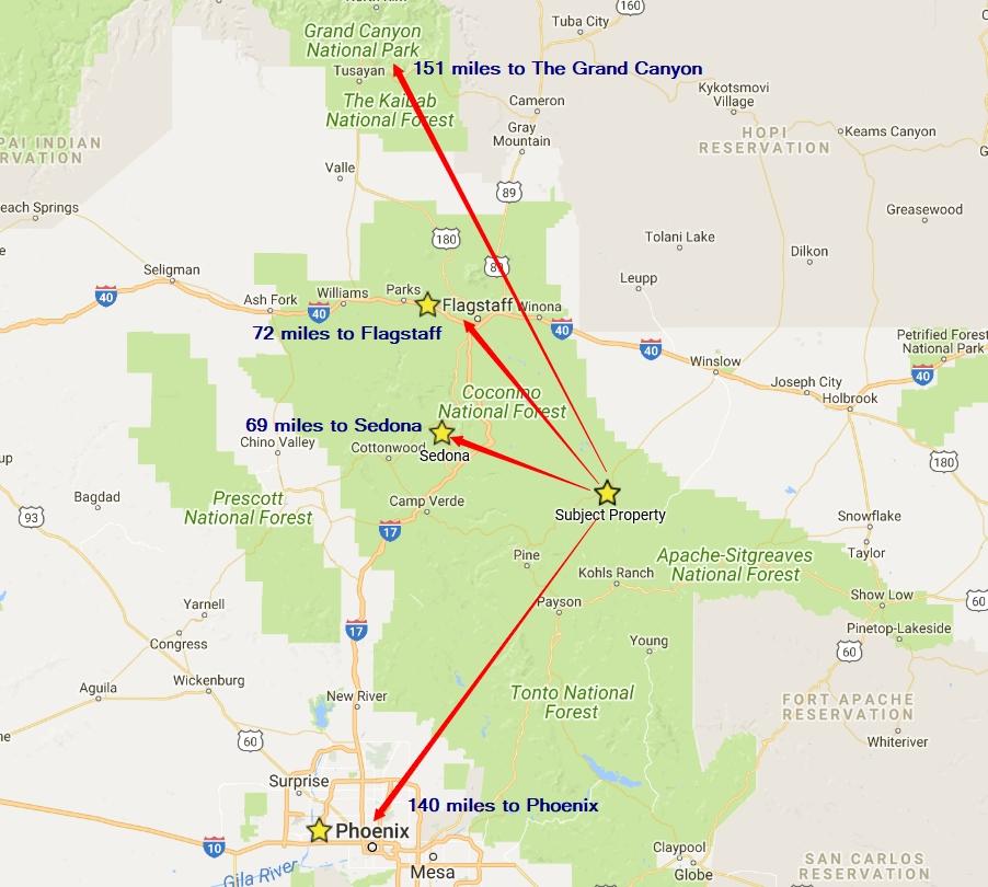Map Of Arizona Blm Land.1 06 Acres Happy Jack Arizona 17 950 The Land Shop