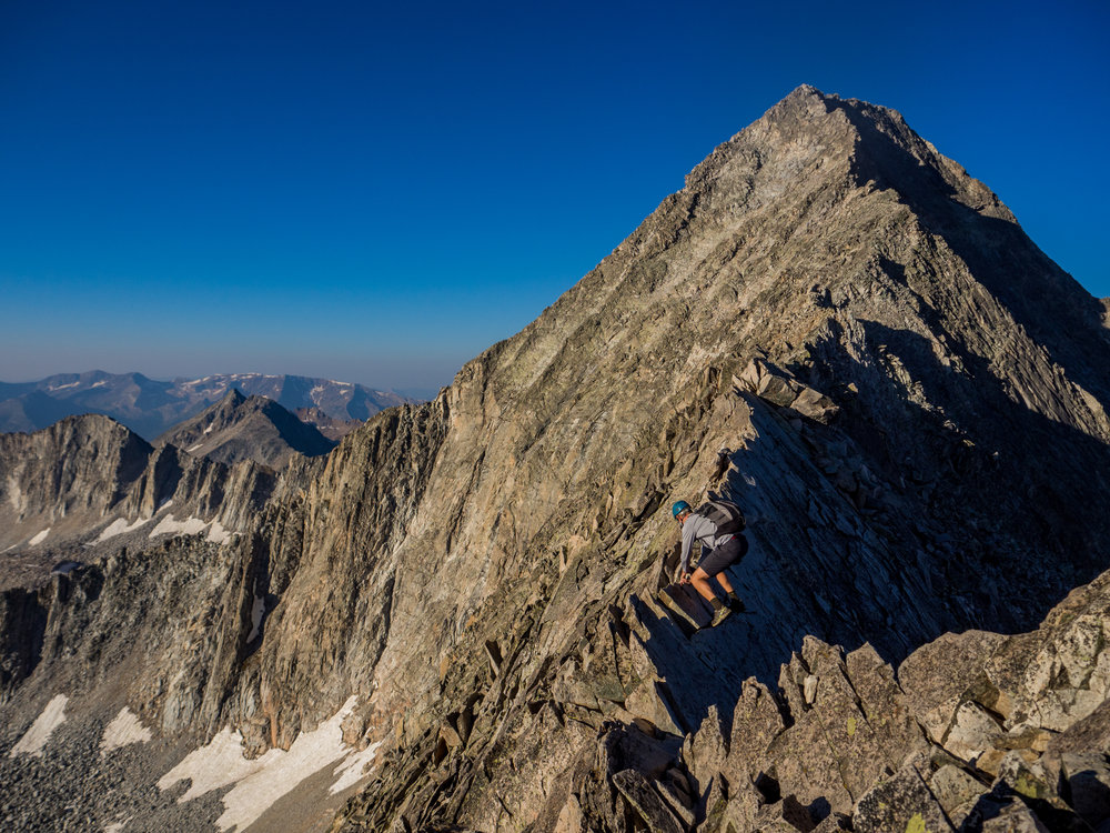 Dylan navigating Capitol Peak's infamous Knife Edge.