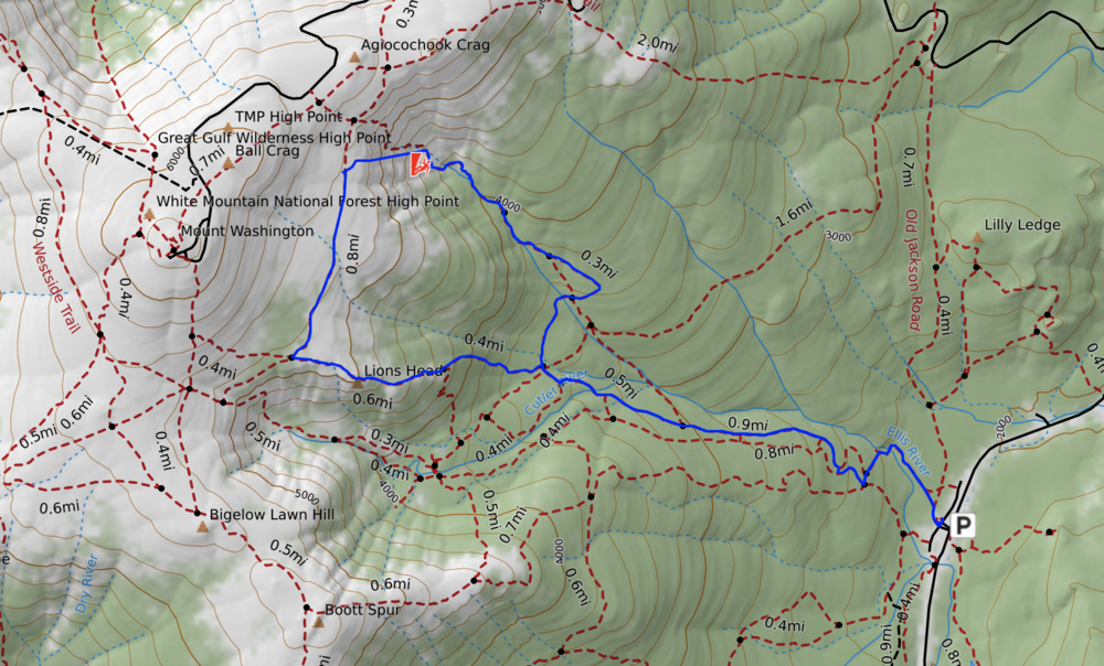 Route from Day 1. Pinnacle Gully is about where the climber icon is.