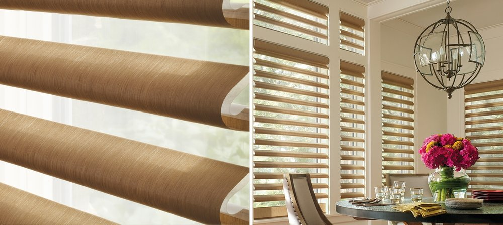 Pirouette® - Our innovative Pirouette® shadings feature soft horizontal fabric vanes attached to a single sheer backing, allowing for enhanced views to the outside while maintaining privacy and the full beauty of the fabric appearance on the inside.