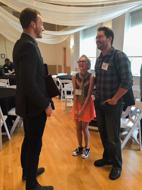 Lily networking with Joe Hutchins, an entreprenuer and Hood College student
