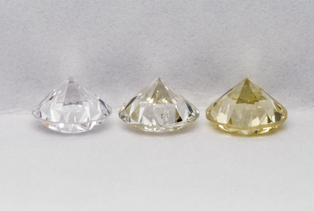 Color - For white diamonds, we take a look at the tint to determine value.