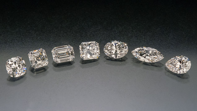 Left to right: Cushion, Asscher, Emerald, Radiant, Oval, Marquise, and Pear. Courtesy Lazare Kaplan Diamonds, via GIA