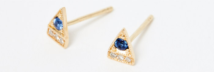 Sapphire Triangle Studs, Jennie Kwon. 14K gold with diamonds, sapphires.