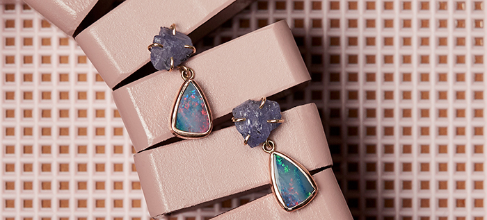Opal and Tanzanite Drops by Melissa Joy Manning