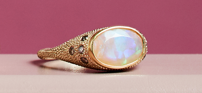 Opal Signet Ring by Elizabeth Street Jewelry