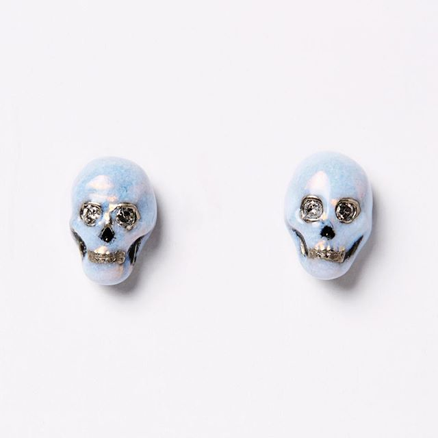 Good chance many of you out there feel this way today 💀 Enamel and diamond skull studs from @nvitshop giving us life (after life?) today 💎