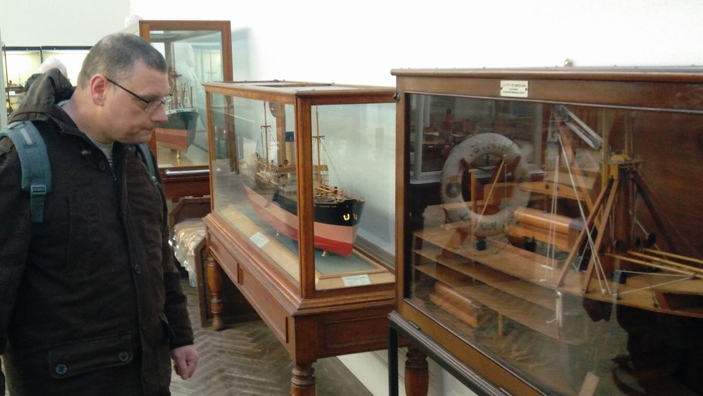 Viewing the model ship collection at the Williamson gallery and museum, Oxton