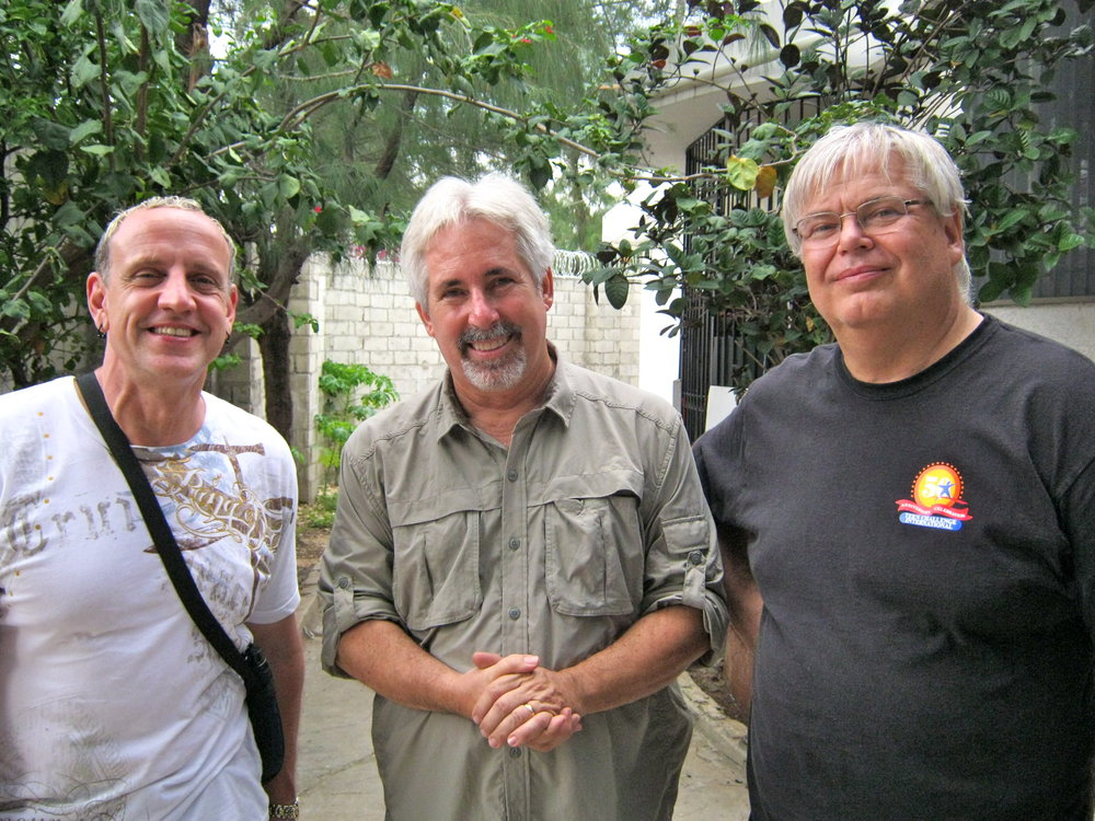 2014 CHILD HOPE INTERNATIONAL : Founder, Bill Mannassero,flanked by Marty Kubicki (L) & Dr. Charles (Chuck) Slone (R) in Port-Au-Prince, Haiti for the  H4H  annual 2014 dental clinic.