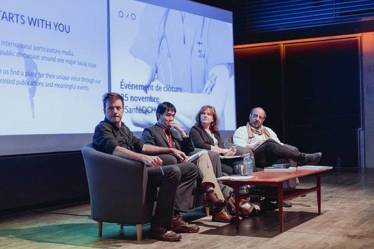 Panel-discussion avec (de gauche à droite)Guillaume Hébert - IRIS, Dr Dat Nguyen-Dinh, Sophie-Andrée Blondin - Radio Canada, Dr Alain Poirier. Rendez-vous de clôture #santéQChealth - 25 novembre 2016 @Musée McCord.