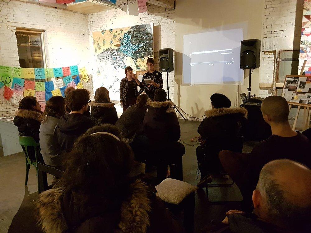 Présentation du film NUITS par Tiphaine Barrailler et Bianca Laliberté lors de l'exposition 2915 le 9 mars 2018.