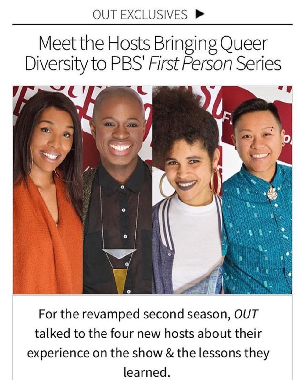 OUT MAGAZINE CHATS WITHFIRST PERSON'S SEASON TWO HOSTS! -