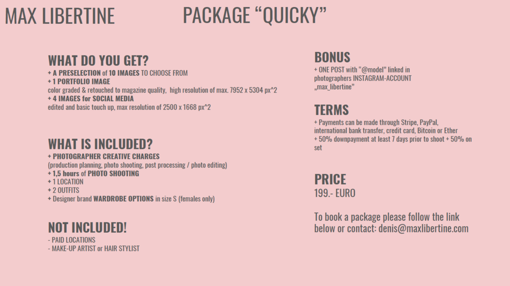 BOOK THIS PACKAGE  HERE or write a message to denis@maxlibertine.com