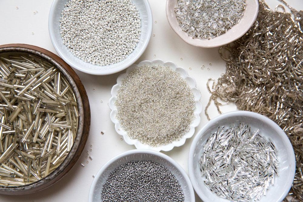 silvery beads