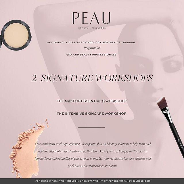Supper excited to announce that we will be hosting our next Peau Beauty + Wellness Oncology Aesthetics Advanced Training Workshop at the Academy of Massage and Bodywork in Bear, DE on May 26 & 27, 2018 If you're a makeup artist or esthetician we offer a nationally accredited oncology aesthetics training workshop that teaches safe, effective , therapeutic skin and beauty solutions to help treat and heal clients going through the effects of cancer treatment. For more information contact info@peaubeautyandwellness.com ⠀⠀⠀⠀⠀⠀⠀⠀⠀ #oncologyesthetics #oncologyesthetician #oncologyestheticstraining #skincaretrainer #makeuptrainer #skinbeautywellness #cancersupporter #aesthetician #beautywithbenefits #phillyspa #delawarespa #newjerseyspa #beautyschool #beautyeducation