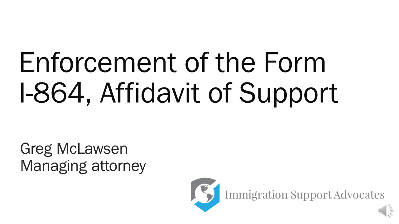 Seminar Recording Enforcement Of The I 864 Affidavit Of Support