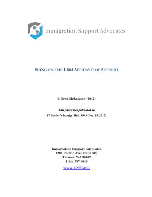 Suing On The Form I 864 Affidavit Of Support Immigration Support