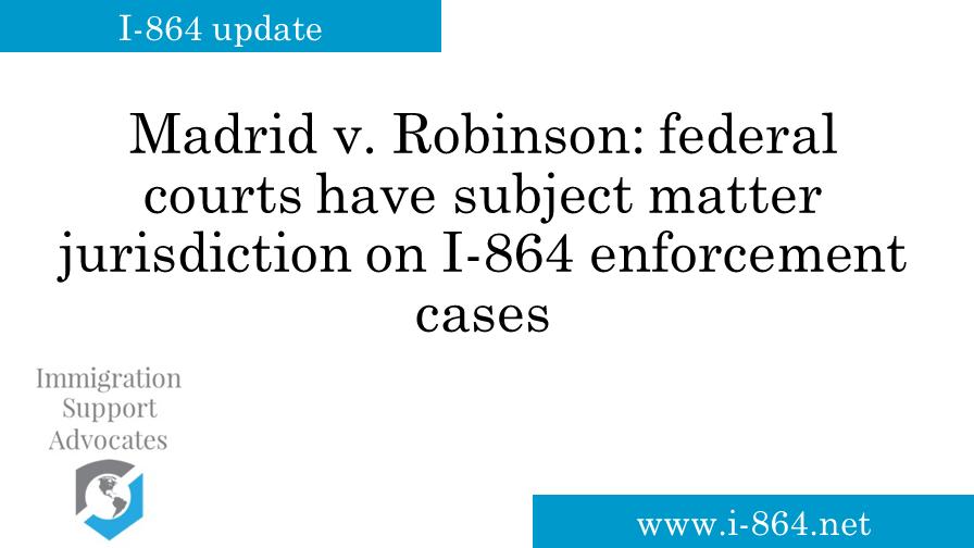I-864 news — Immigration Support Advocates