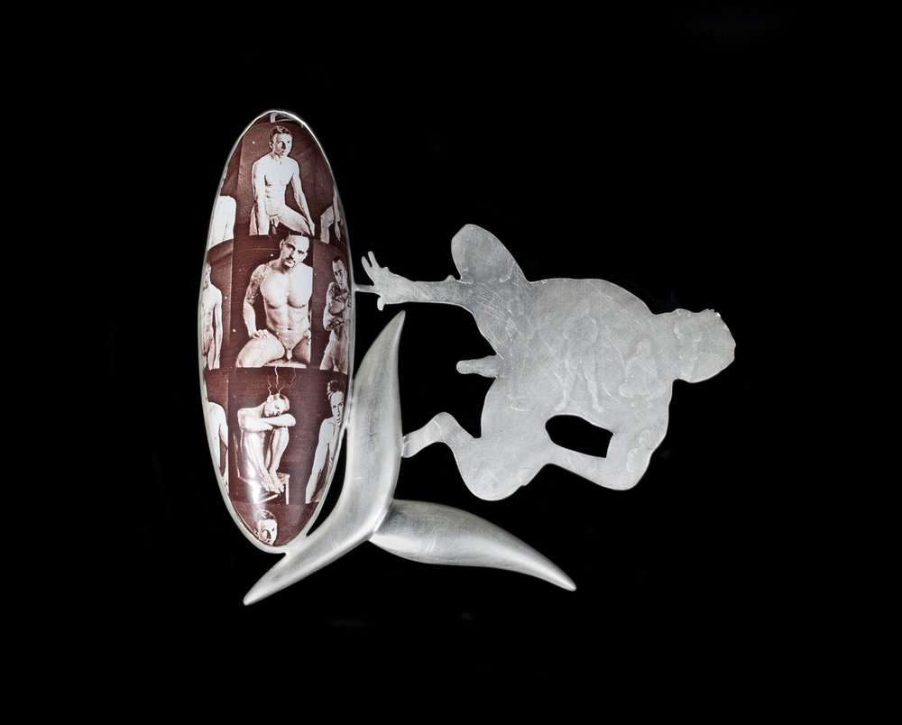 "Andrew Kuebeck   Still Life with the Guys  Sterling Silver and Enamel  3.5"" x 3.5"" x .25"""