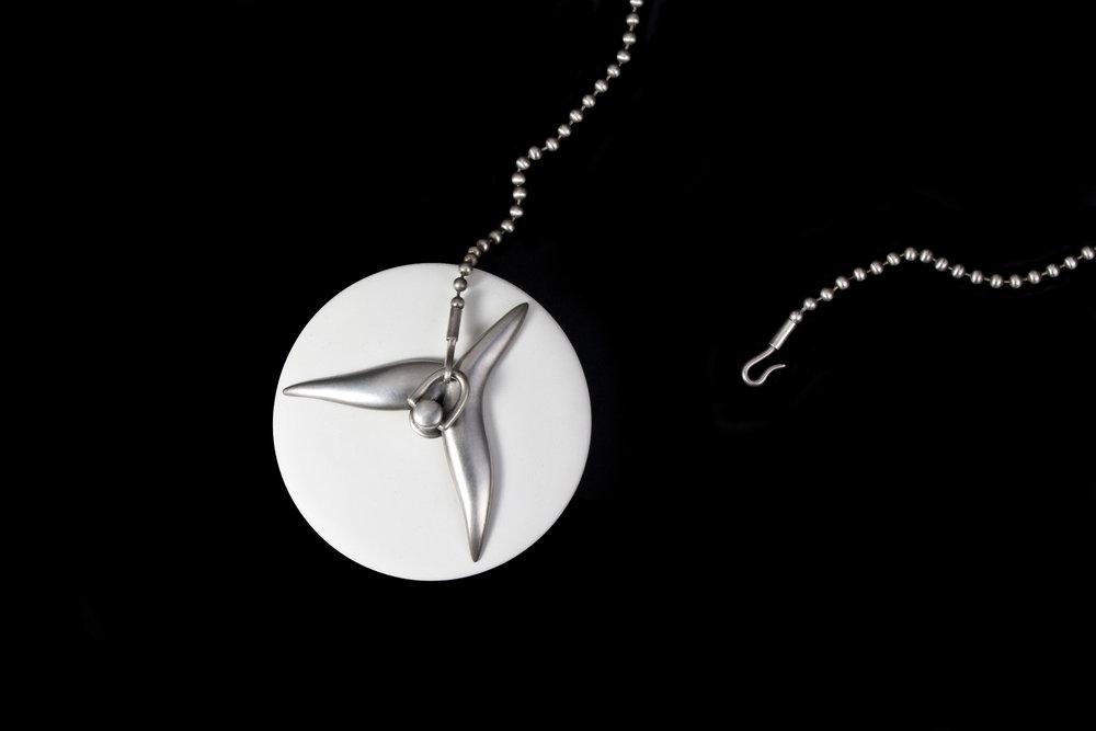 "Joshua Kosker   Stopper  Rubber, sterling silver  2.5"" x 2.5"" x 1.25"" (chain 32.5"")"