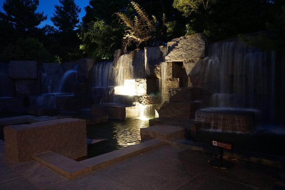 Roosevelt Memorial at night, Washington DC