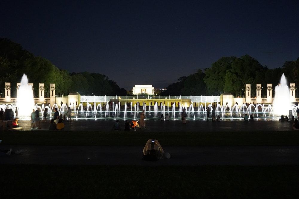 World War II Memorial at night, Washington DC