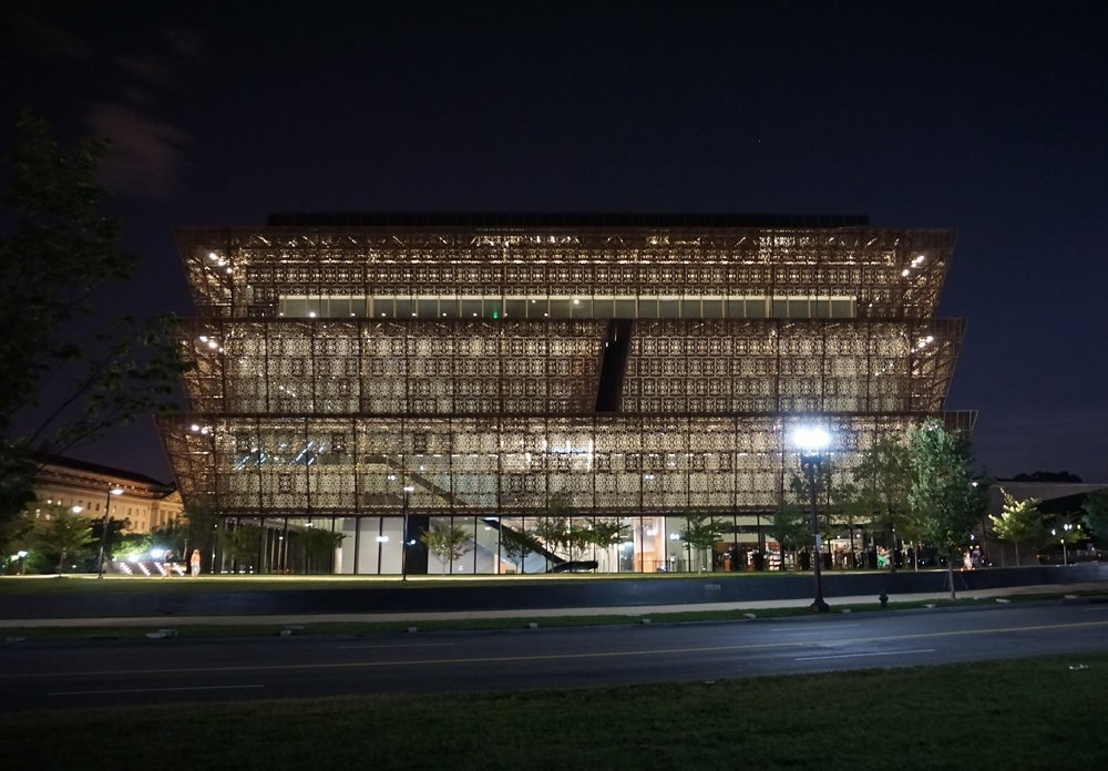National Museum of African-American History at night, Washington DC