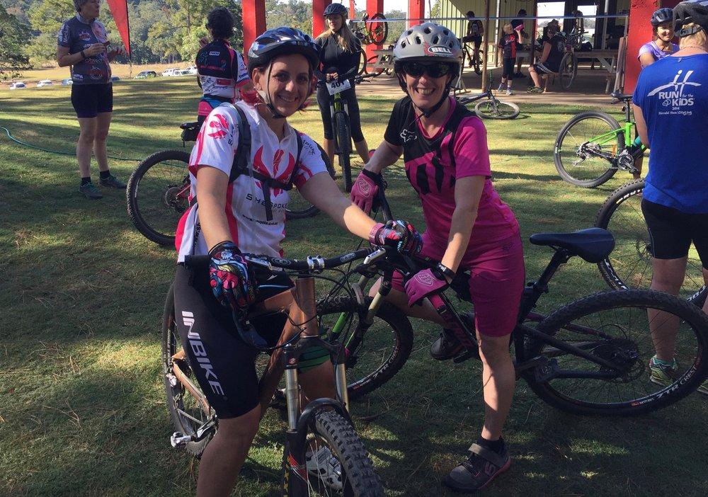 Mel (Left) and the fabulous Sharon Mills, organiser and coach of Dirt Diva's Mountain Bike Club, at Rowellan Park Mackay.