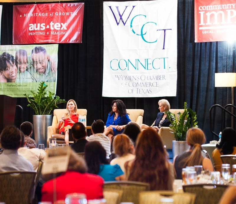 Texas Businesswomen of the Year Finalists talk with the audience.