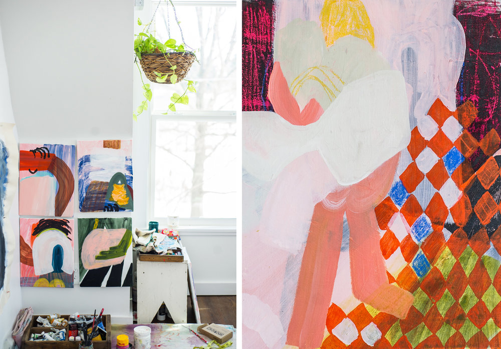 Studio scene of in progress work (left) and painting (right)  Turn Away , 12' x 16', acrylic and pastel on linen