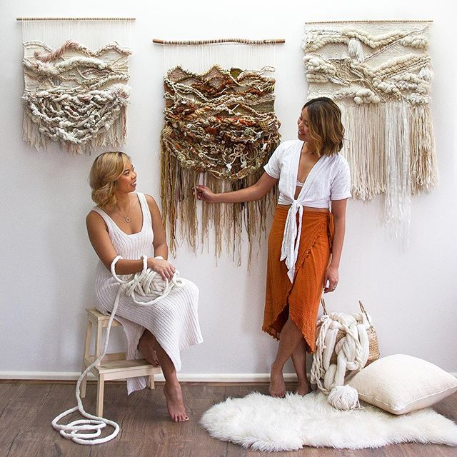New interview is up featuring sisters Lauren and Kass Hernandez of @crossingthreads 👯check it out (link in story) to see how they create these stunning weavings using natural fibers. Plus learn how they balance full-time jobs with growing their business, and what it's like to work together as sisters. Swipe to see more of their work! ✨