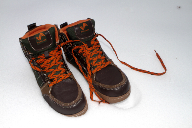 Good solid shoes are essential once you get the snowboard/ski boots off your feet.  These waterproof Hiking boots have that sneaker vibe but can hang in the snow.  www.forsake.com