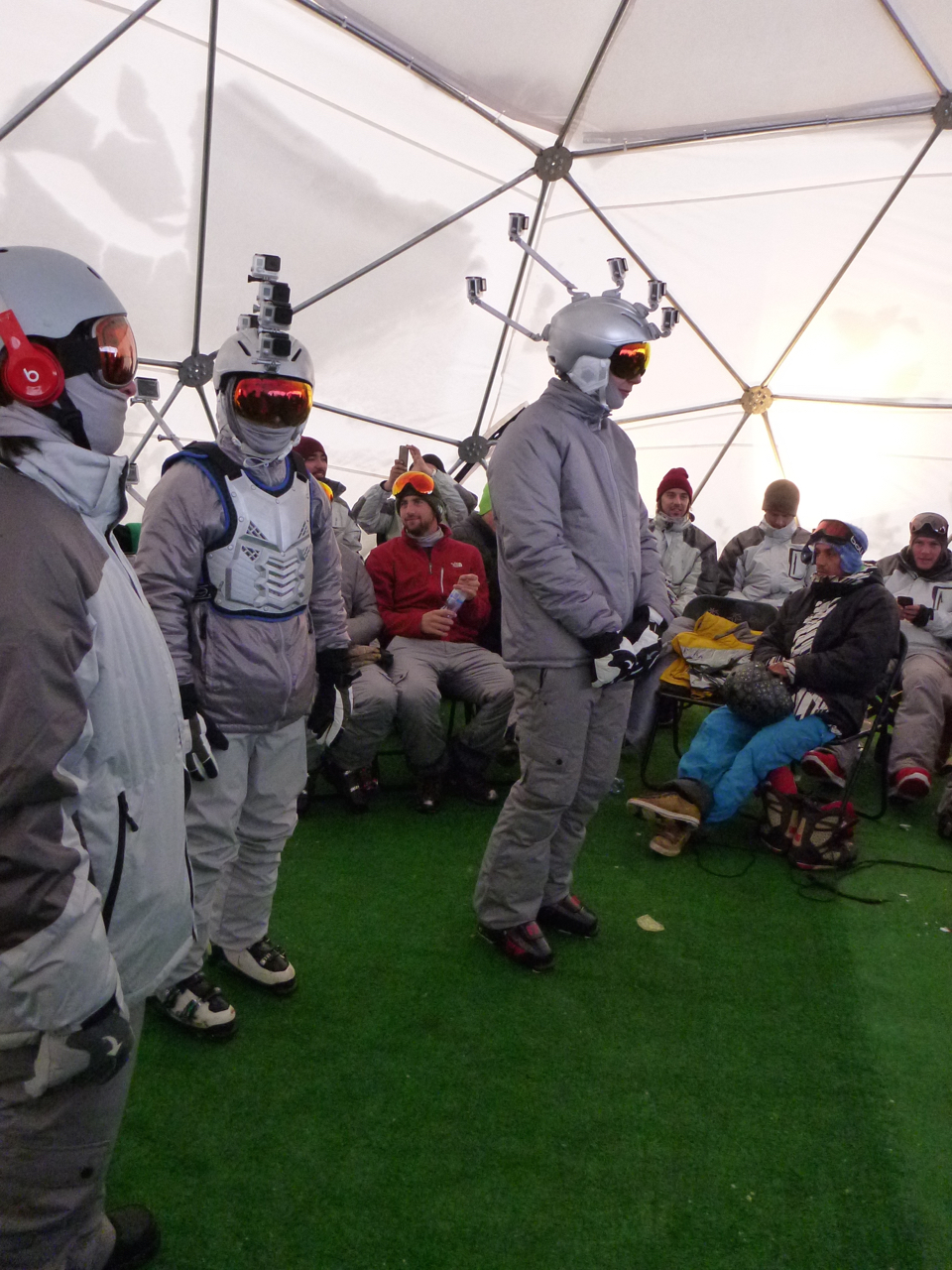 Heated tent where stunt skiers/snowboarders waited to be called to set. Chile, South America.