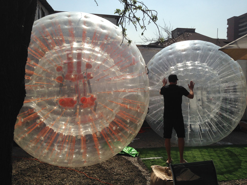 Back in Santiago the ZORBS were blown up and tested.